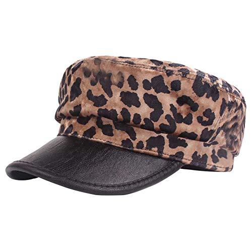 Gysad Sombrero Patrón de Leopardo Gorra Boina Mujer Sombrero Hombre Cálido y Confortable Newsboy Hat (Colorear-2)