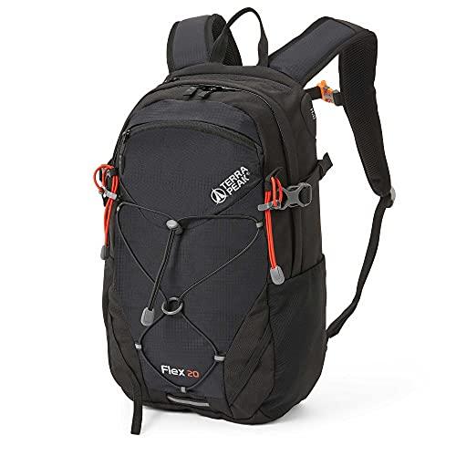 Terra Peak Flex 20 Wanderrucksack 20L für Herren Damen schwarz klein wasserdicht mit Polyester hochwertiger Trekkingrucksack Outdoor Daypack mit YKK Reisverschluss zum Wandern und Campen in der Natur