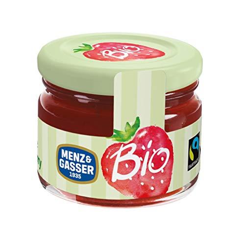 Menz&Gasser Confettura Extra di Fragole Bio - Confettura Monodose Biologica con Frutta di Alta Qualità, 24 Vasetti x 28 g
