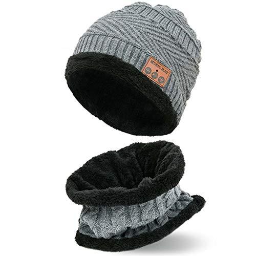 SFGSA Gorro con Bluetooth para hombre, con micrófono inalámbrico, diseño de música de invierno con bufanda para cuello, color gris