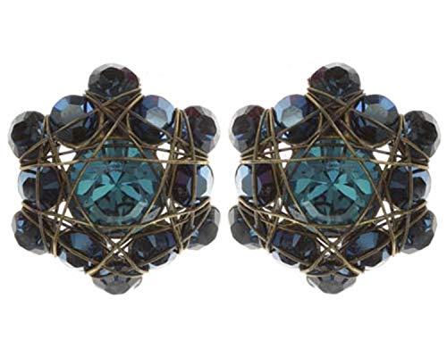 Ohrringe Konplott Bended Lights Blau | Ohr-Schmuck mit Glitzer-Steinen | Ohr-Stecker für Damen in verschiedenen Farben | Konplott - Einzigartiger Modeschmuck mit Swarovski Elements