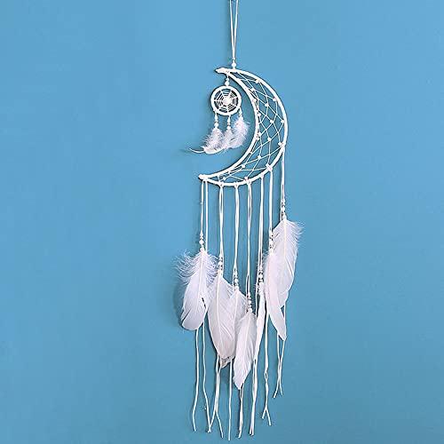 Yuccer Attrape Reve Indien, Capteur de Reves Attrapeur de Rêves avec en Plumes Handmade Dreamcatcher Ornement Suspendue Chambre (Blanc)
