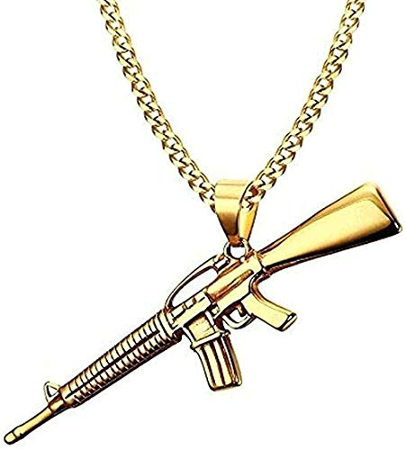LBBYMX Co.,ltd Collar Moda Hombre Collares Color Dorado Ak-47 Rifle de Asalto Rifle Colgante Collar Helado Acero Inoxidable Hiphop Bicicleta Joyería de Moda Collar Regalo