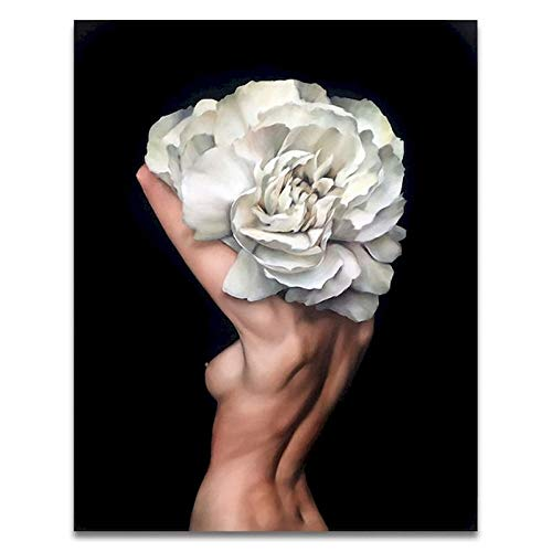 Pintar por números Figuras DIY Pintura al óleo por números en lienzo Flores y mujeres Pintura digital sin marco A6 45x60cm