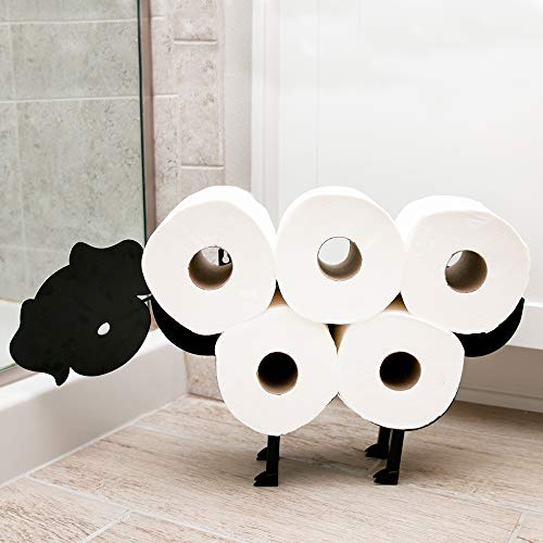 East World Dog Toilet Paper Holder Free Standing and Wall Mount Toilet Tissue Storage Stand - Roll Holders fit 8X Rolls, and So Adorable! Black Dog Gifts, Bathroom Accessories, and Fixtures