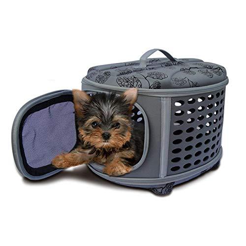 Knuffelhol Pet Cat Carrier Lichte grote capaciteit draagbare reistas auto nesting dog cave bed met mat voor reizen 46x37x31 cm grijs
