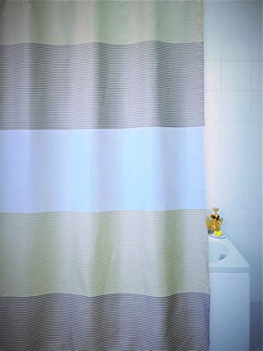 VÄLSON Duschvorhang 180x180 cm Stripes Vorhang incl. Ringe Antischimmel Antibakteriell mit verstärkte Lochleiste & Gewichtsaum