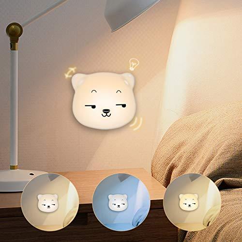 Luce Notturna a LED per Bambini, Lampada Da Comodino SYOSIN per Bambino, con Tre Cambi di Colore, per Leggere e Dormire, regalo di compleanno per bambini (Bianco)