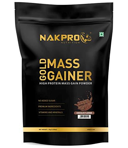 NAKPRO Mass Gainer, High Protein & High Calorie Weight Gain Protein Powder Gym Supplement with Creatine, 23 Vitamin & Minerals for Muscle & Mass Gain (Chocolate, 1 Kg)