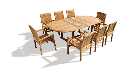 Jati 8 Seater Teak Garden Dining Set with Double Leaf Extending Patio Table and Stacking Chairs Set Brand, Quality & Value