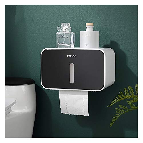 IKEAR Toilet Paper Holders with Multifunction Cat Proof Wall Mount Bathroom Storage Organizer with Waterproof One-click pop-up Folding Roller Self Adhesive Paper Roll Holder Tissue Box Paper Dispenser