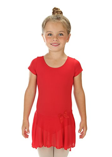 elowel | Meisjes | Sport-Balletdansshirt | Tutu | gymnastiekpak, leotard | korte mouwen - met rok, ruches | elegant en comfortabel | Verkrijgbaar in meerdere kleuren en maten (2-14 jaar)