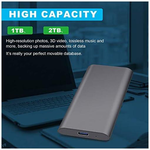 Disco Duro Externo 2tb Type C USB 3.1 Disco Duro Externo para Mac, PC, MacBook, Chromebook, Xbox (2tb, Gris) 2