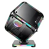 lingyun Cube Computer Case Micro-ATX/Mini-ITX Desktop Internet Cafe Gaming Mainframe USB3.0 Front Interface Edge RGB Light Unique Chassis 58×58×25 (cm)