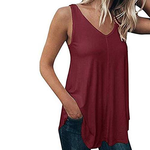 VEMOW Chaleco Camisola sin Mangas para Mujer Cuello en V, Camiseta de Tirantes Informal de Verano Camisetas Suelto Color Sólido Casual Camisa Tank Tops Deportivos(Vino,3XL)