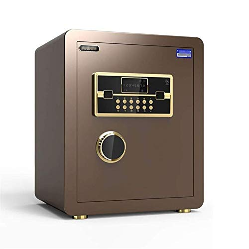 WSMLA Security Safe - Digital Safe,Electronic Steel,Fireproof Lock Box with Keypad to Protect Money,Jewelry,Passports for Home,Business or Travel (Color : Brown)