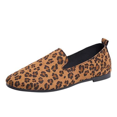 ZHANSANFM Schuhe Damen Mode Flacheschuhe Frauen Round Toe Flock Slip-On Leopard Printing Einzelschuhe Bequeme Halbschuhe Mokassin Bootsschuhe (36 EU, Braun)