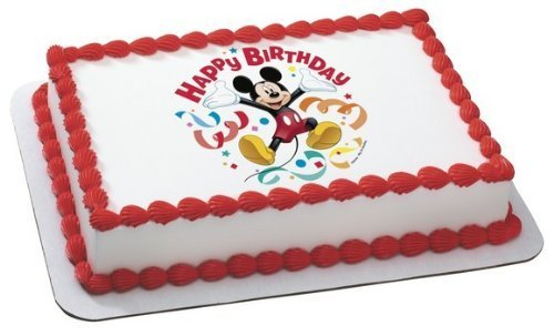 Whimsical Practicality Mickey Mouse Clubhouse Streamers Edible Cake Topper Decoration Sheet Measures 8.5x10.5 Inchs Mixed