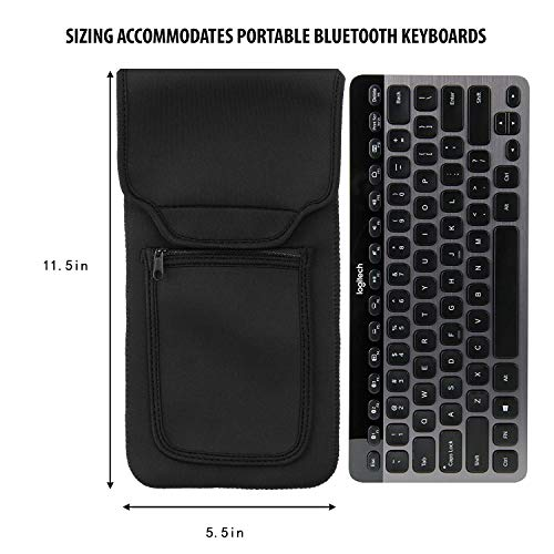 Bluetooth Keyboard Sleeve Case voor Logitech K810, Anker, Apple Magic Keyboard (tot 11,5 inch) met neopreen constructie, draadloze muisopslag en kabel en oplader