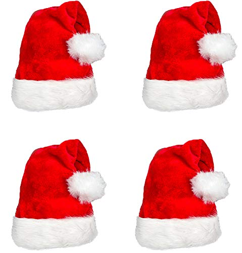 4 Pack Plush Santa Hat Confortable Velvet Red Christmas Hat for Christmas Party Favors Fit for Adult - http://coolthings.us