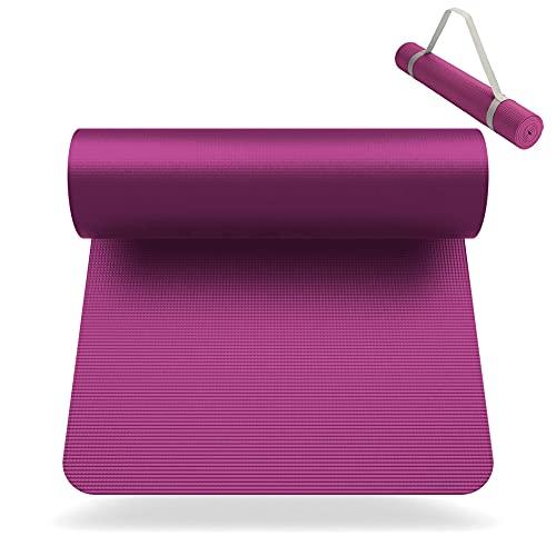 SNIKES Yoga-Matte Pink (180x60cm) mit gratis Tragegurt - Yogamatte für Gym, Workout und Yoga - Jogamatte rutschfest und extra dünn mit in 4 mm Dicke - Fitnessmatte u. Sportmatte