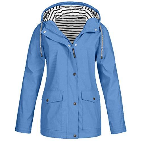 KPILP Damen Wasserdichter Regenjacke mit Kapuzen Solide Übergangsjacke Windbreaker Outdoorjacken Softshelljacke Herbst Wintermantel Outwear