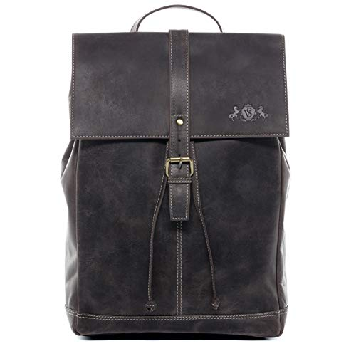 SID & VAIN Rucksack | Vintage-Look | echt Leder SAM groß Kurierrucksack Fahrradrucksack Backpack Tagesrucksack 15,6