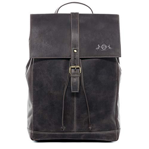 "SID & VAIN Rucksack | Vintage-Look | echt Leder SAM groß Kurierrucksack Fahrradrucksack Backpack Tagesrucksack 15,6\"" Lederrucksack Unisex"