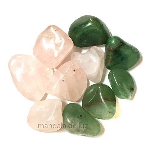 Kit de 10 Pedras Naturais Pequenas Quartzo Verde e Quartzo Rosa