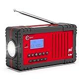 NOAA Weather Radio, Esky Upgraded 2200mAh Power Bank Emergency Radio with NOAA/AM/FM, Solar Hand Crank Radio LED Flashlight, SOS Alarm