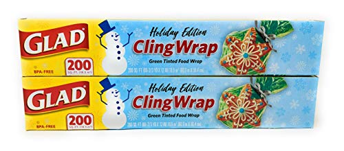 Glad Holiday Cling Wrap Plastic Wrap - Green - 200sq ft (Pack of 2)