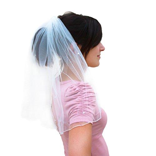 Oblique Unique® Brautschleier mit Haarkamm Einsteckkamm JGA Junggesellinnenabschied Hochzeit Schleier mit weißen Perlen