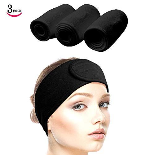 Queta Haarband für Make Up, Kosmetik Stirnband Frottee, verstellbare Haarschutzband mit Klettverschluss 3pcs (Schwarz)