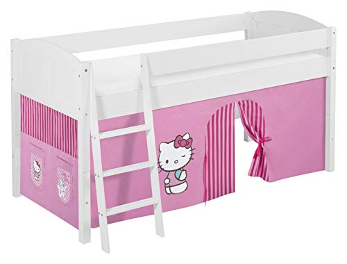 Lilokids Lit Mezzanine IDA 4106 Hello Kitty Rose - Système de lit évolutif Convertible Blanc - avec Rideau