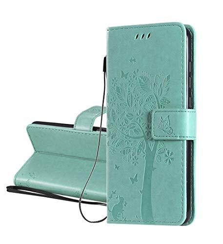 HAOYE Funda para LG K61 Billetera, Diseño de Patrón de Hojas en Relieve Bastante Retro Funda de Cuero, Ultrafino Estuche Protectora para LG K61, Verde