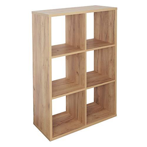 RICOO WM079-EG Estantería 107 x 73 x 33 cm Estante Librería Moderna Biblioteca Muebles de hogar Mueble almacenaje 3 Niveles Color Madera Roble marrón