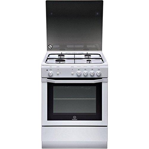 Indesit I6GGC2GWFR Gasherd – Weiß – Kochfeld Gas/Backofen mit natürlicher Konvektion – Katalysator Drehspieß