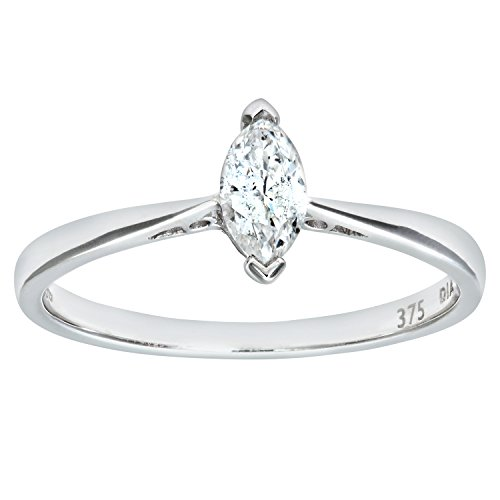Naava Women's Diamond Solitaire Engagement Ring, 9 ct White Gold, V Prong Set, Marquise Cut, 0.25 ct Diamond Weight, I Diamond Clarity, Ring