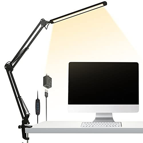 LED Desk Lamp, 12W Metal Swing Arm Desk Lamp with Clamp, Dimmable Eye-Caring Architect Task Lamp, 3 Color Modes/10 Brightness Levels/Adapter/Memory Function Desk Light for Home Office