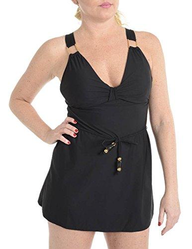 Spanx Badeanzug mit Gürtel für Damen 12 Schwarz