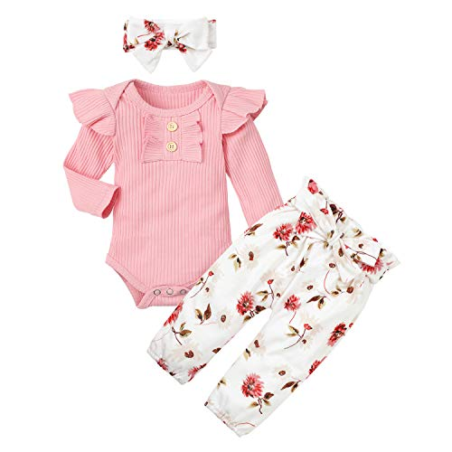 Newborn Baby Girl Clothes Solid Long Sleeve Romper + Floral Pants + Headband 3PCS Outfit Set 0-3M