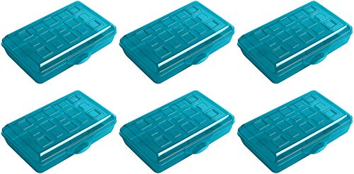 Sterilite Plastic Pencil Box - Green - Pack of 6