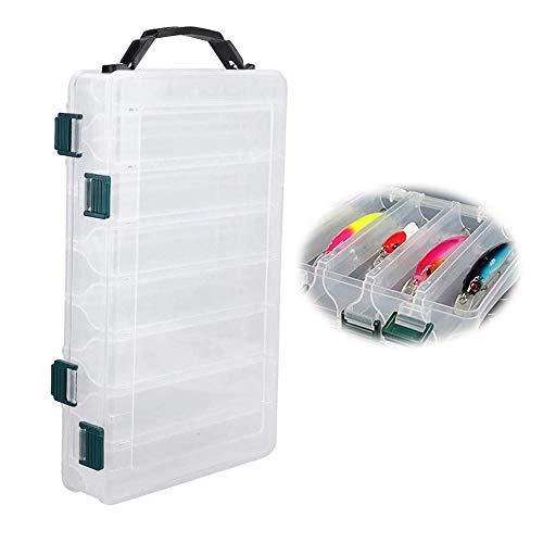 Boite de leurres Transparent, Boite a appats en Plastique, Boîte de Rangement pour appâts de pêche en Plastique Double Face 14 Compartiments, Petits Accessoires de Pêche box pour leurres de pêche