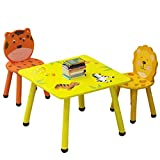 DMZing Kids Wooden Desk, Kids Desk and Chair Set, Children's Combined Animal Cartoon Study Table Game Table for Boys & Girls (C1)