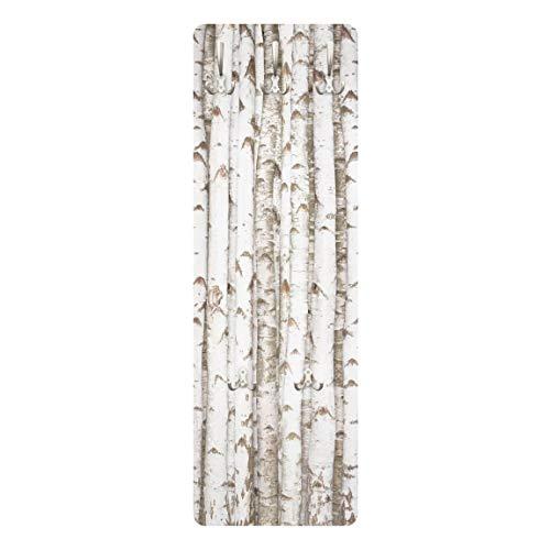 Bilderwelten Garderobe Flurgarderobe Weiß Holzoptik 15 Birkenwand Landhaus 139 x 46 cm
