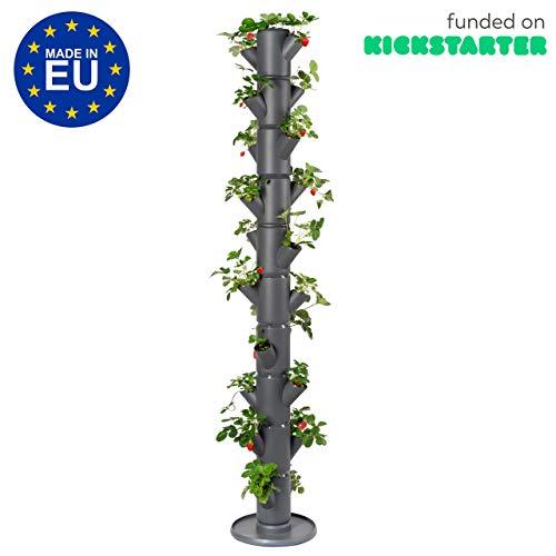 GUSTA GARDEN Sissi Strawberry (Infinity, anthrazit/grau) - Pflanzgefäß/Topf/Pflanzturm/Hochbeet für Erdbeeren - für Balkon, Garten und Terrasse - Erdbeeren und Kräuter anpflanzen