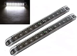 """2x 17"""" Clear White LED Surface Flange Mount Truck Trailer RV Reverse Back Up Driving Clearance Waterproof Submersible Ligh..."""