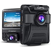 Built-in GPS Uber Car Camera Crosstour 1080P Front and 720P Inside with Parking Monitoring Motion Detection G-Sensor and WDR IR Night Vision Dual Lens Dash Cam