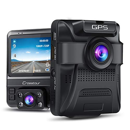 Dash Cam - GPS Dual Car Camera Uber Crosstour 1080P Front and 720P Inside DVR Recorder with 2.4