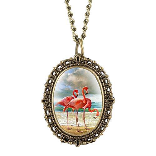 Filigrane Damen-Taschenuhr mit Flamingo-Patch-Muster, ovale Taschenuhren für Damen, Bronze-Ton, Legierung, kleines Zifferblatt, Uhr Anhänger für Mädchen